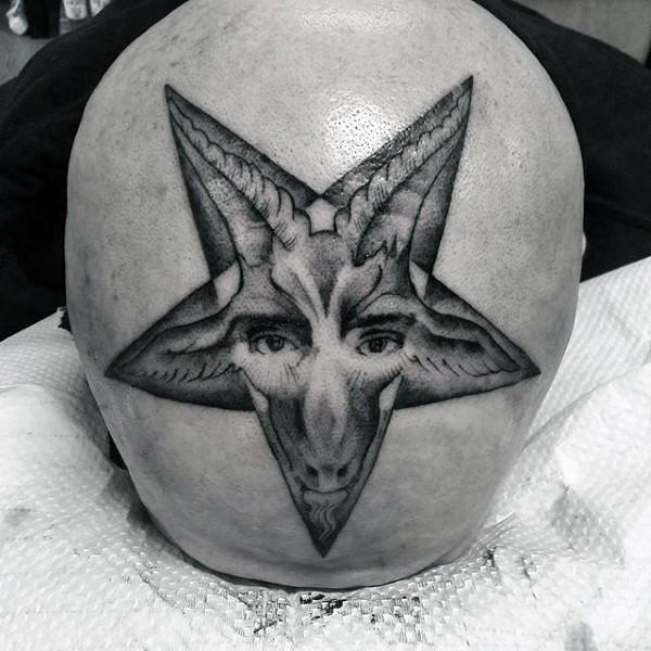 Stippling style black ink devils star with devil face