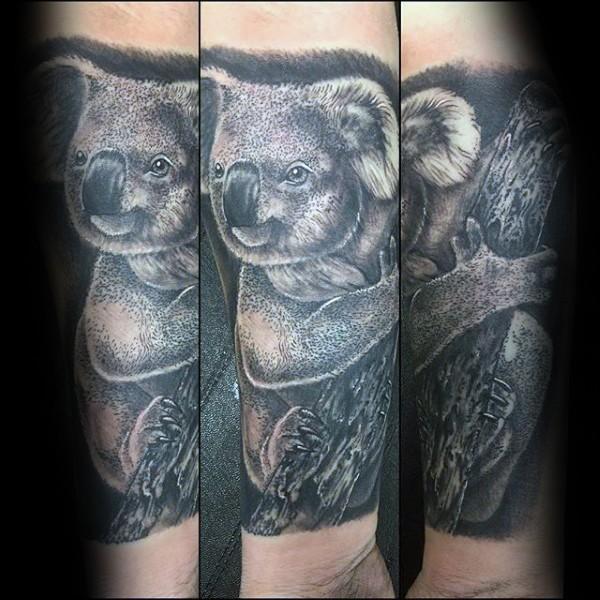 Stippling style black ink forearm tattoo of lifelike koala bear