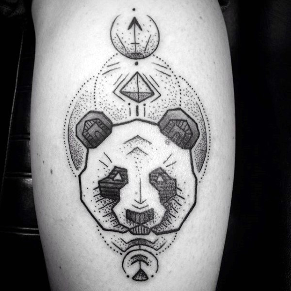 Stippling style black ink leg tattoo of panda bear with symbols