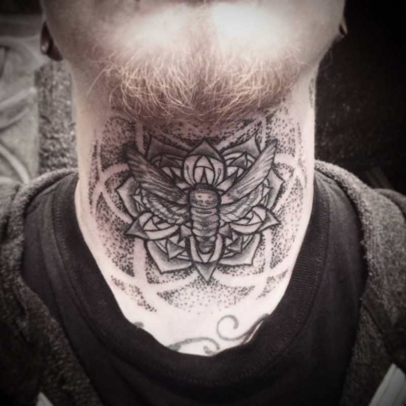 Stippling style black ink neck tattoo of butterfly