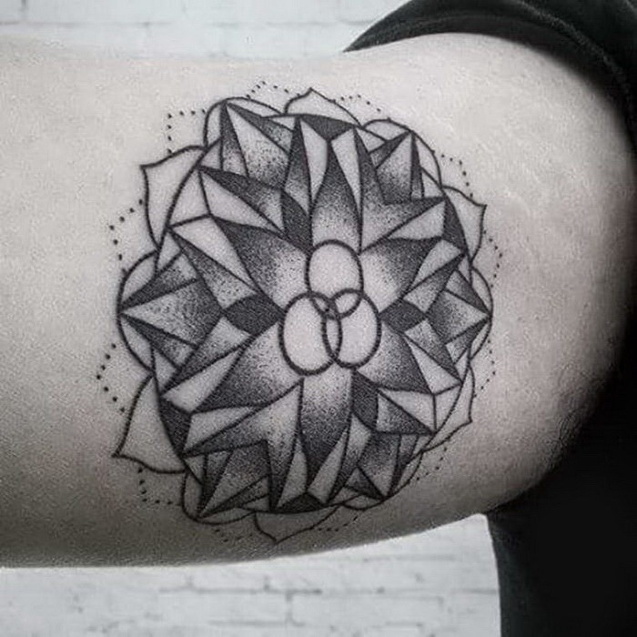 Stippling style black ink ornamental flower