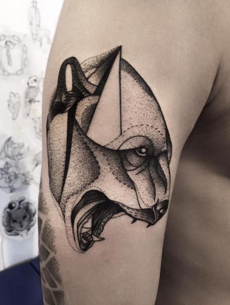 Stippling style black ink shoulder tattoo of bear head