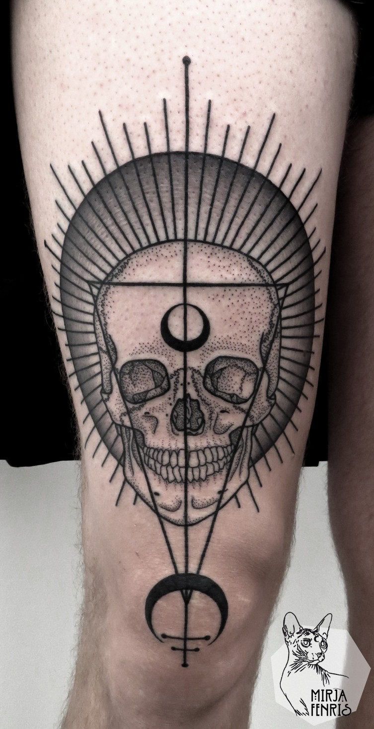 Stippling style black ink tattoo of human skull with symbols