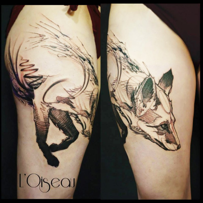 Stippling style black ink thigh tattoo of cute fox