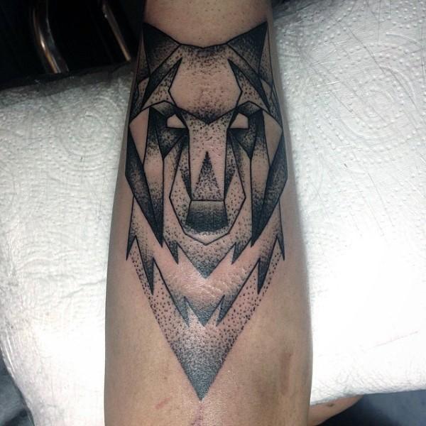 Stippling style black ink wolf head