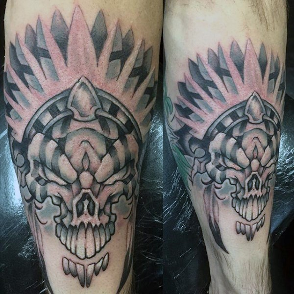 Stippling style colored arm tattoo of fantasy demonic skull