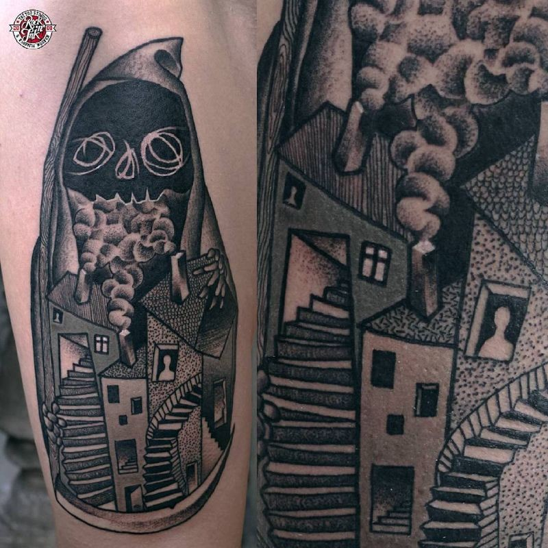 Stippling style colored forearm tattoo of interesting shaped house