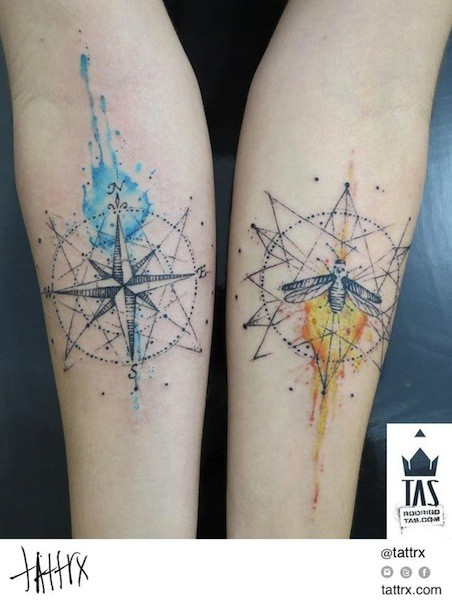 Stippling style colored forearm tattoo of nautical star and butterfly