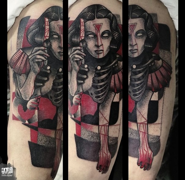 Stippling style colored mystical woman with bloody razor blade tattoo on shoulder
