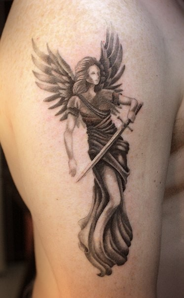 Stippling style colored shoulder tattoo of angel warrior