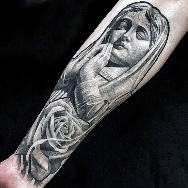 Stippling style interesting looking arm tattoo of praying woman