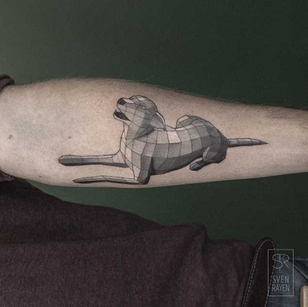 Stone like black ink arm tattoo of big dog
