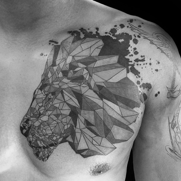 Stone like black ink chest tattoo of lion head