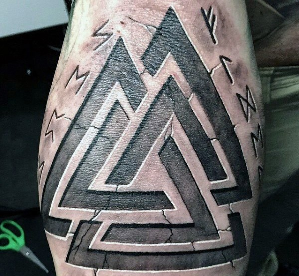 Stone Like Colored Ancient Symbols Tattoo With Lettering