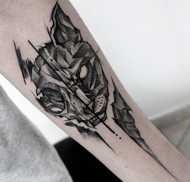 Stone like dot style arm tattoo of evil cat