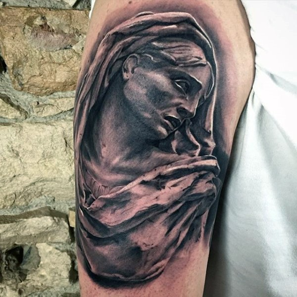 Stonework style 3D like shoulder tattoo of stone statue
