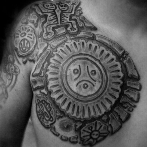 Stonework style black ink chest tattoo of ancient paintings