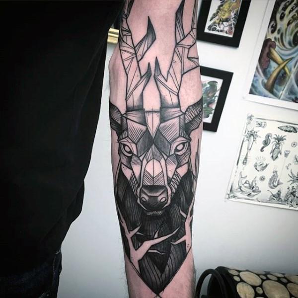 Stonework style black ink forearm tattoo of deers head