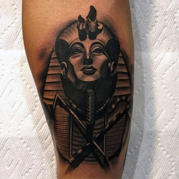 Stonework style black ink leg tattoo of Egypt pharaoh statue