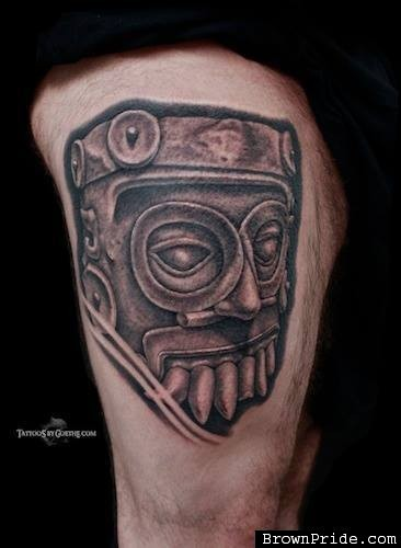 Stonework style black ink tattoo of ancient statue