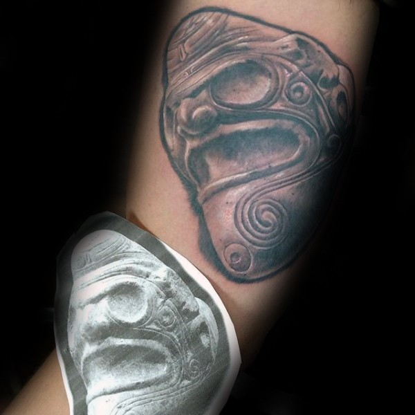 Stonework style colored ancient statue tattoo