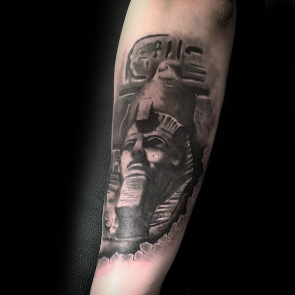 Stonework style colored forearm tattoo of Egypt pyramids and Sphinx