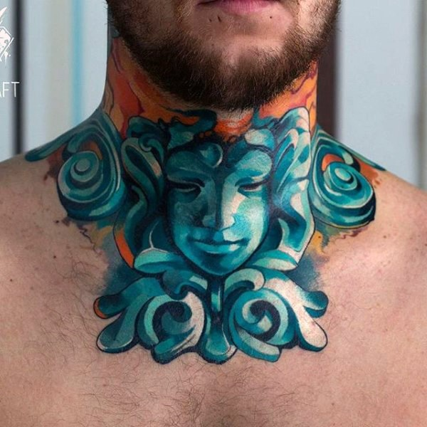 Stonework style colored neck tattoo of interesting statue