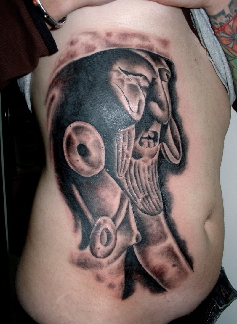 Stonework style colored side tattoo of ancient statue