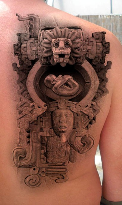 Stonework style cool looking scapular tattoo of ancient statues