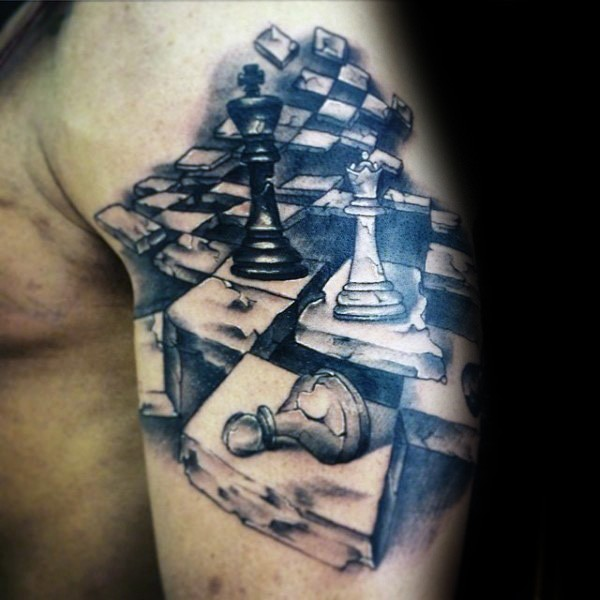 Stonework style cool looking shoulder tattoo of chess figures