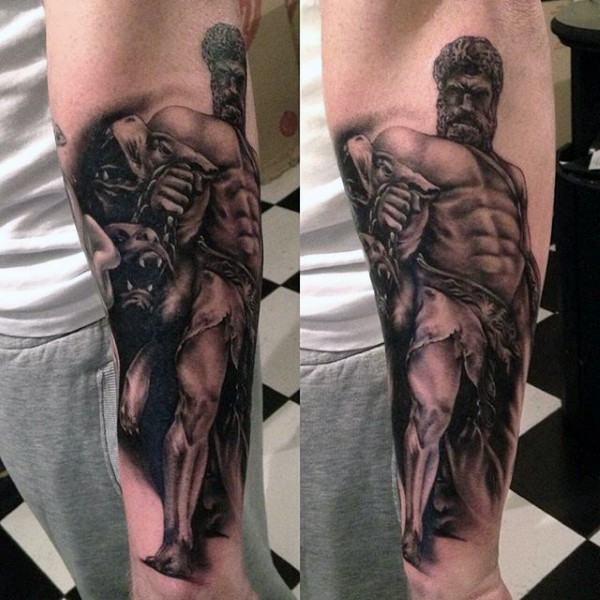 Stonework style detailed arm tattoo of ancient statue with Cerberus