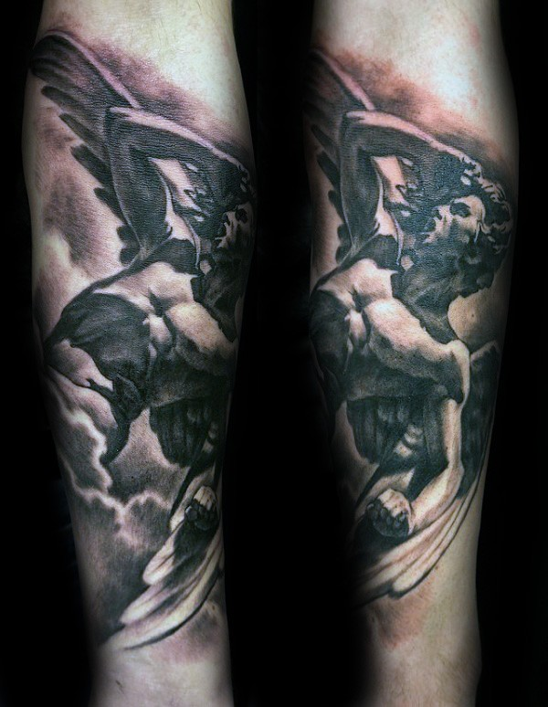 Stonework style detailed arm tattoo of Icarus statue