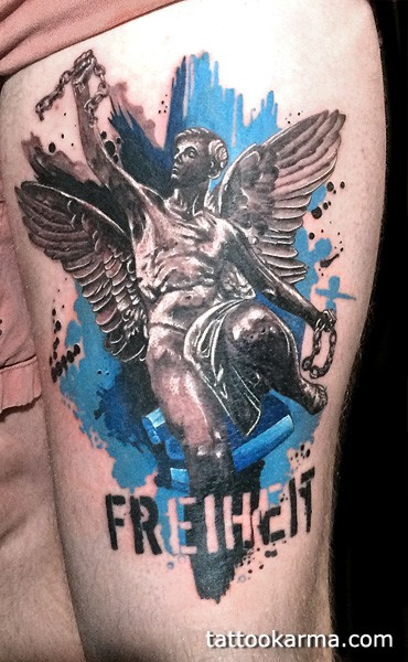 Stonework style detailed looking shoulder tattoo of Icarus statue with lettering