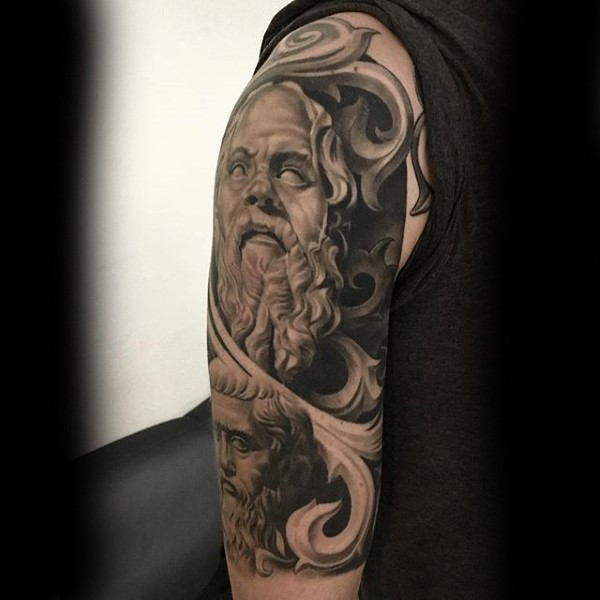 Stonework style detailed shoulder tattoo of old statue of man with beard