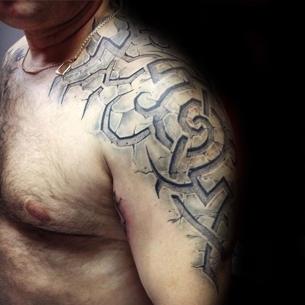 Stonework style detailed shoulder tattoo of ancient stone picture