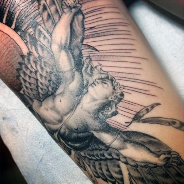 Stonework style detailed tattoo of Icarus statue