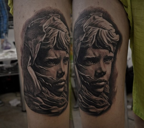 Stonework style detailed tattoo of sad girl in hood
