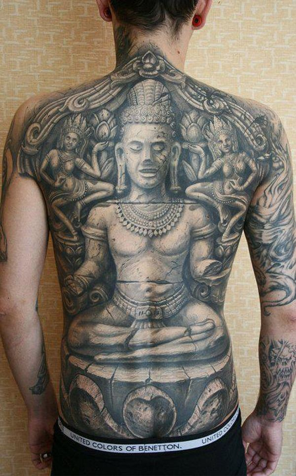 Stonework style detailed whole back tattoo of ancient statue