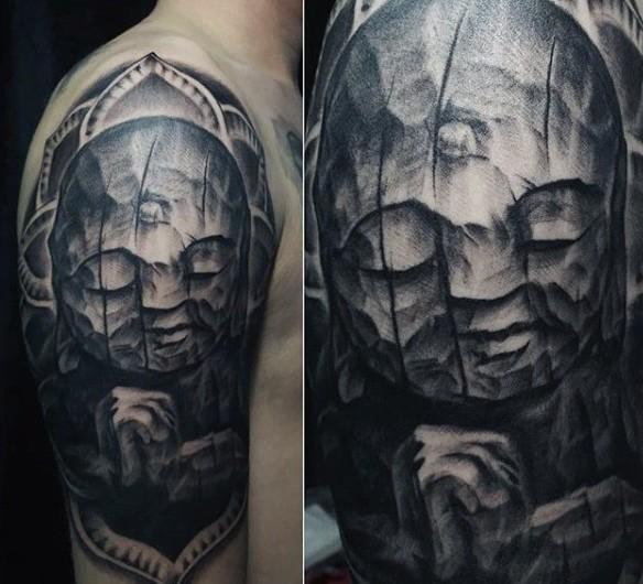 Stonework style Hinduism themed Buddha statue tattoo on shoulder