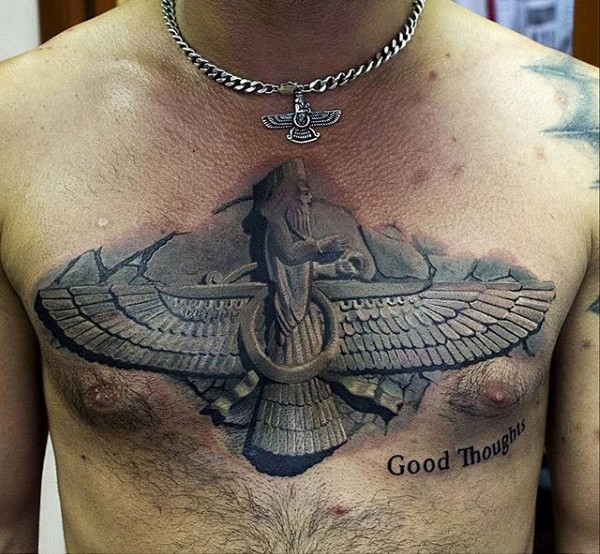 Stonework style large beautiful looking chest tattoo of ancient symbol