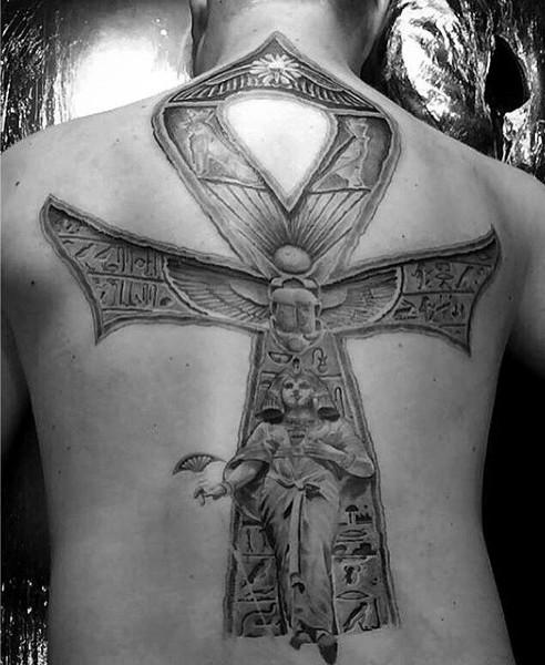 Stonework style large very detailed whole back tattoo of Egypt statue