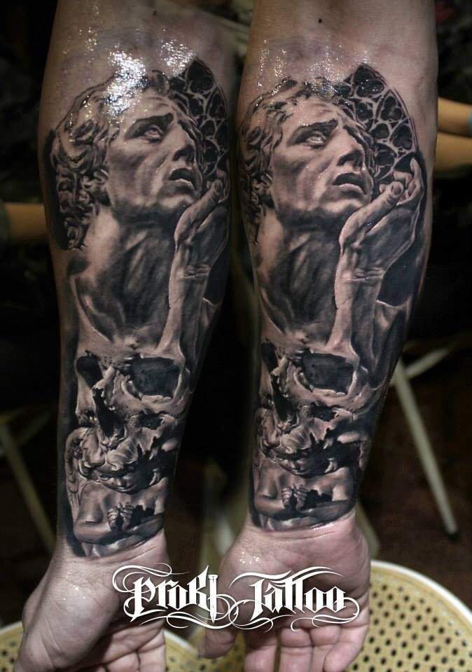 Stonework style marvelous looking forearm tattoo of human statue with skull