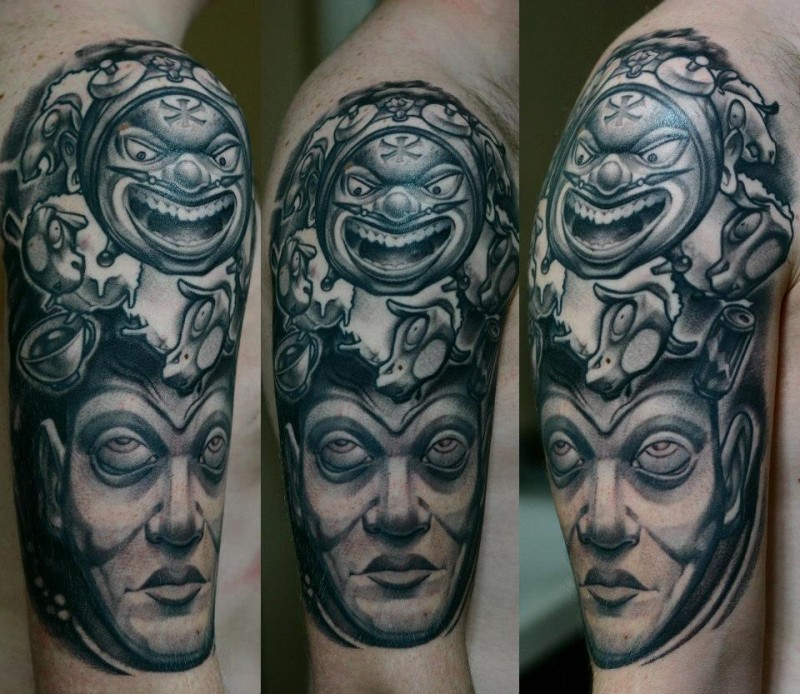 Stonework style very detailed ancient statue tattoo on shoulder