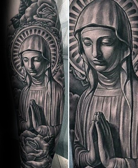 Stonework style very detailed arm tattoo of mother Mary with rose