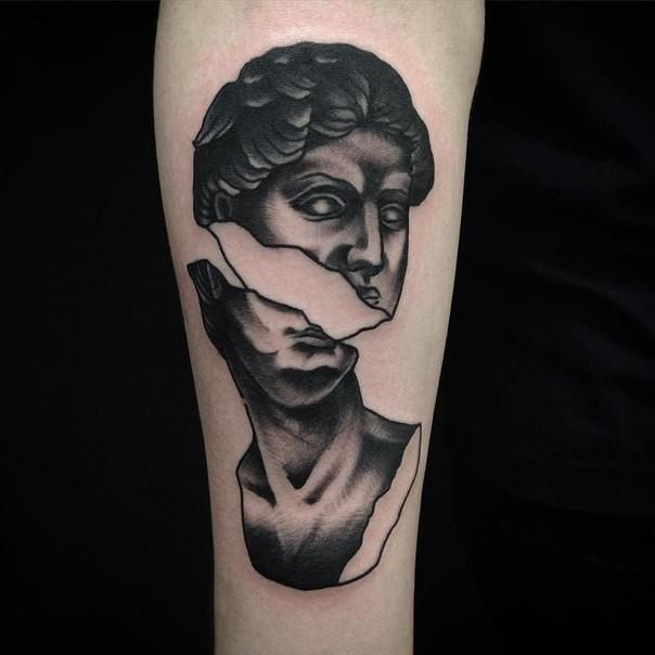 Stonework style very detailed arm tattoo of broken  statue