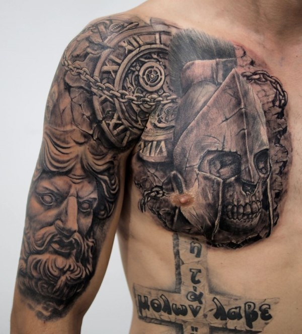 Stonework style very detailed chest and shoulder tattoo of ancient statues