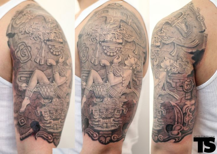 Stonework style very detailed shoulder tattoo of ancient statue