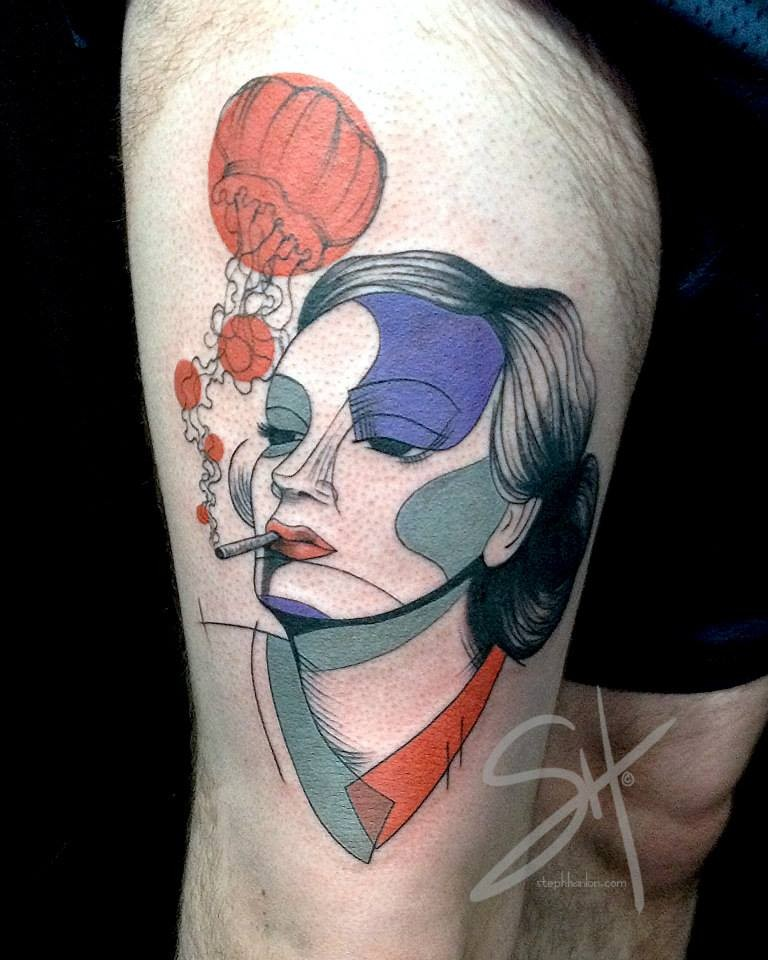 Strange designed and colored smoking woman portrait tattoo on thigh