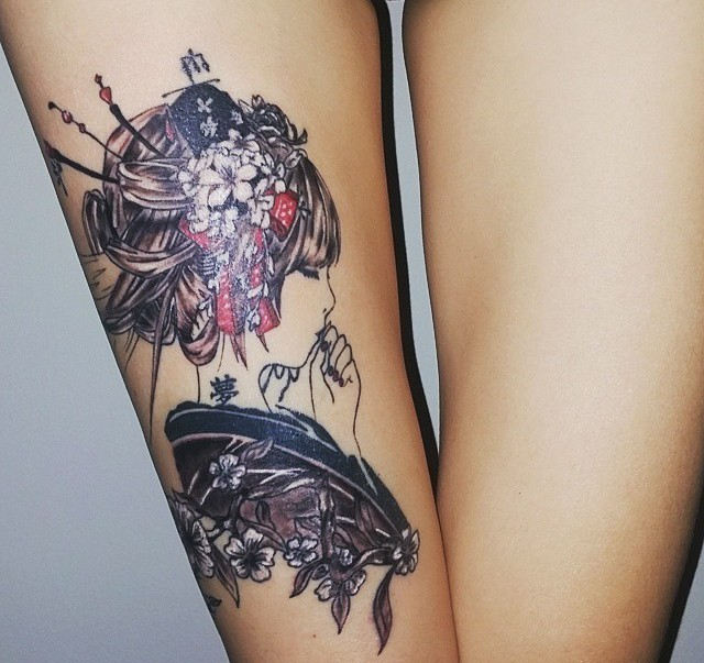 Strange designed multicolored thigh tattoo of beautiful geisha with flowers in hair