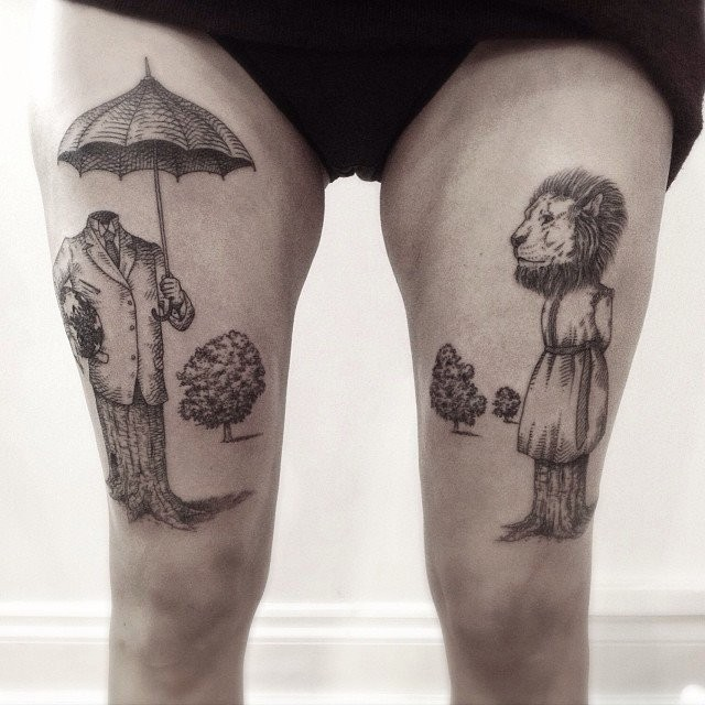Strange looking black ink thighs tattoo of lion on tree and human with umbrella